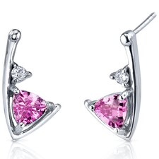 Modern Sophistication 2.00 Carats Pink Sapphire Trillion Cut Cubic Zirconia Earrings in Sterling Silver