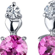 Gleaming Heart 2.00 Carats Pink Sapphire Round Cut Cubic Zirconia Earrings in Sterling Silver