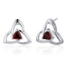 Modern Captivating Spiral 1.00 Carat Garnet Trillion Cut Earrings in Sterling Silver