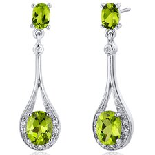 Glamorous 3.50 Carats Gemstone Oval Cut Dangle Diamond CZ Earrings in Sterling Silver