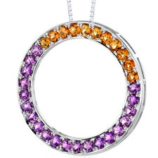 3.00 Carats Total Weight Round Shape Amethyst and Citrine Circle of Life Pendant Necklace