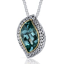 Leaf Cut 11.00 Carat Green Spinel Ribbon Motif Pendant in Sterling Silver
