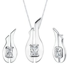 "1.13"" Radiant Cut White Cubic Zirconia Pendant Earrings Set in Sterling Silver"