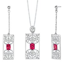 "2.5"" Radiant Cut Ruby Pendant Earrings Set in Sterling Silver"