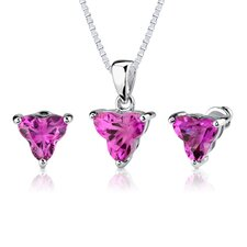 Ultimate Splendor Tri Flower Cut Pendant Earring Set in Sterling Silver