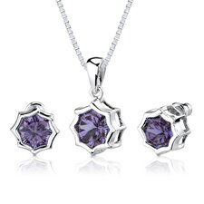 Exclusive Splendor Carats Concave-Cut Snowflake Shape Alexandrite Pendant Earring Set in Sterling Silver