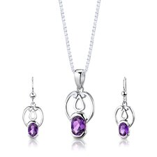 "Sterling Silver 2.00 Carat Oval Shape Gemstone Pendant Earrings and 18"" Necklace Set"
