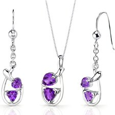 Love Duet Trillion Heart Shape Sterling Silver Gemstone Pendant Earrings Set
