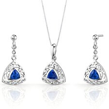 Filigree Design 1.50 Carats Trillion Cut Sterling Silver Sapphire Pendant Earrings Set
