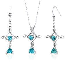 Cross Design 2.25 Carats Trillion Heart Cut Sterling Silver Swiss Blue Topaz Pendant Earrings Set