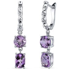 Oval Cut Gemstone French Clip Checkerboard  Earrings