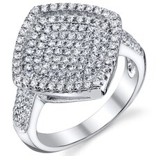 Sterling Silver Rhodium Finish CZ Dazzling Micro Pave Finish Ring