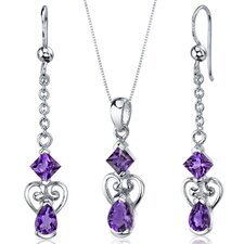 Pear Shape Gemstone 2 Stone Heart Design Pendant Earrings Set
