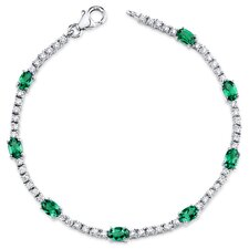 Oval Shape Emerald Tennis Bracelet
