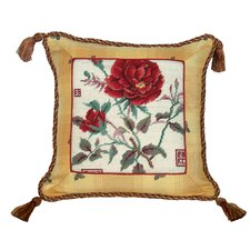Rose 100% Wool Needlepoint Pillow with Fabric Trimmed