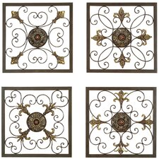 Metal Wall Plaque Set in Antique Bronze (Set of 4)
