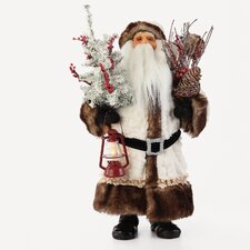 Led White Fur Santa Figurine