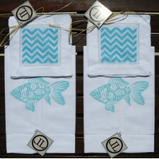 Fish Guest Towel with Zig Zag Cocktail Napkin Set