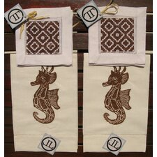 Seahorse Guest Towel with Morocco Cocktail Napkin Set