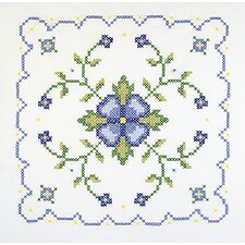 Blue & Yellow Floral Quilt Stamped Cross Stitch Blocks