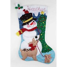 Snowman & Friends Jumbo Felt Stocking Cross Stitch