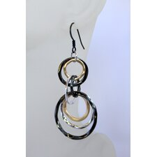 Tri-Tone Linked Ring Earrings