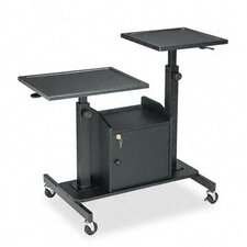 Pro-View Projection Stand, 2 Platforms, 33 x 24 x 28-1/2 to 44-1/2, Black