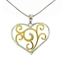 Sterling Silver and Gold Plated Diamond Accent Swirl Heart Necklace