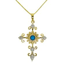 Cross Turquoise and Cubic Zirconia Pendant Necklace