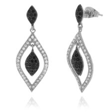 Triple Diamond Shape Cubic Zirconia Dangle Earring
