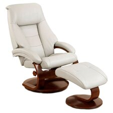 Leather Recliner & Ottoman in White & Espresso