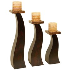 Metro 3 Piece Wood Candlestick Set in Brown