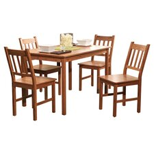 Aegina 5 Piece Bamboo Dining Set in Natural