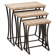 Mykonos 3 Piece Nesting Table Set in Driftwood