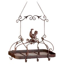 Rooster Hanging Pot Rack in Rich Rust Red