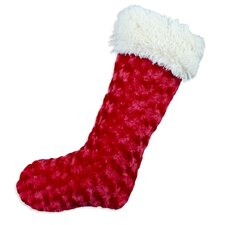 Rosebud Simply Soft-Shaggy Lined Stocking in Red