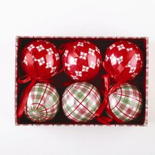 6 Piece Chalet Ornament Set in Red