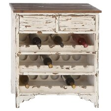 Classic 18 Bottle Wine Cabinet in Distressed White