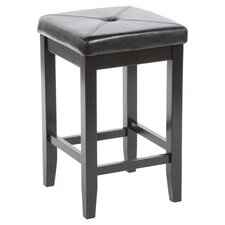 "Upholstered Square 24"" Counter Stool in Black"