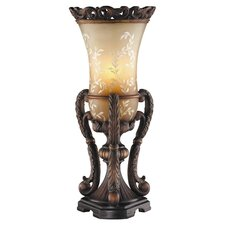 Ornate Hand Painted Uplight Table Lamp in Antique Brown