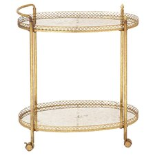 Tea Serving Cart in Gold