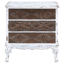 Tortula 3 Drawer Chest in Brown & White