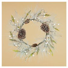 "18"" Pine, Berry, Cone & Leaf Wreath in Silver"