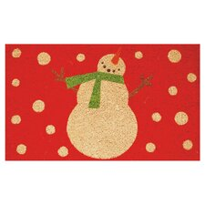 Holiday Snowman Doormat in Red