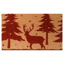 Christmas Reindeer Doormat in Red & Tan