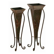 2 Piece Toscana Metal Planter Set in Brown