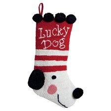 Lucky Dog 3D Hooked Stocking in Red