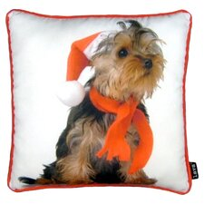 Holiday Yorkie Pillow in White