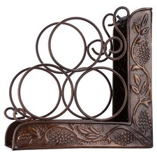 Embossed 3 Bottle Tabletop Wine Rack in Antique Copper
