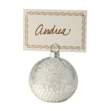 Snowball Glass Ornament and Place Card Holder in White